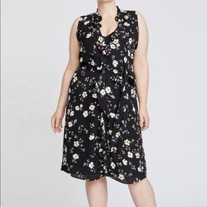 Eloquii Fit and Flare Floral Dress tie waist Sz 20